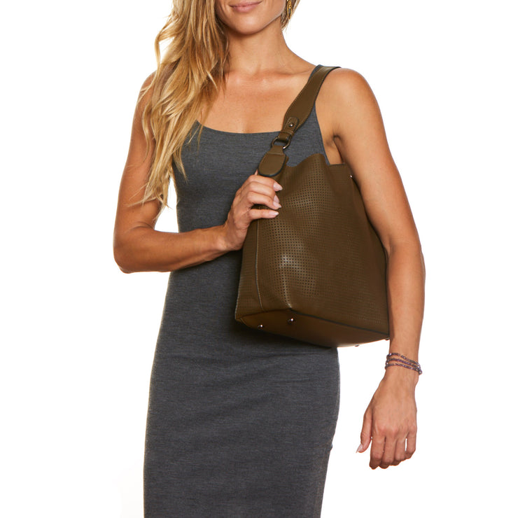 Military Brown Clara Laser Cut Shoulder Bag