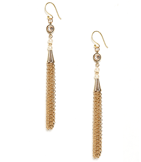 Pearl Eva Crystal and Chain Tassel Earrings