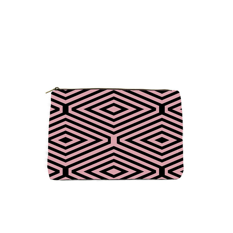 Pink & Black Diamond Print Cosmetic Bag
