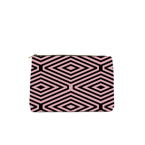 PINK AND BLACK DIAMOND PRINT COSMETIC BAG