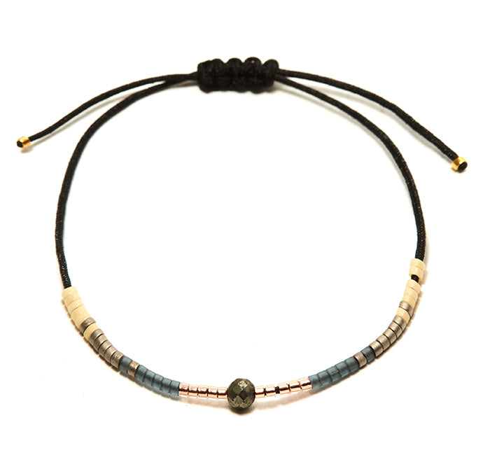 Pyrite Andalusia Black String Bracelet