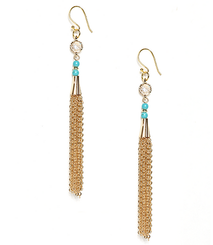 Turquoise Eva Crystal and Chain Tassel Earrings