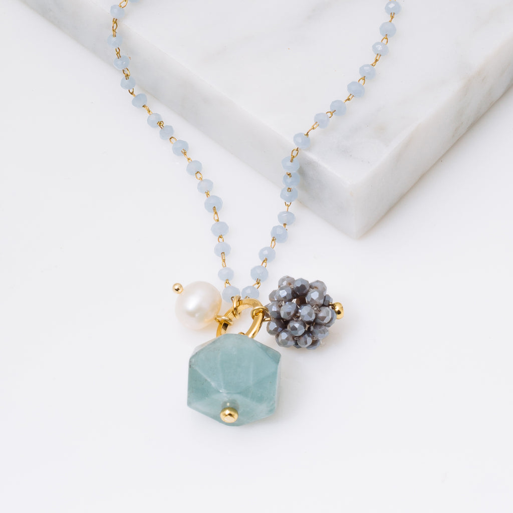 Aqua Crystal and Gemstone Necklace