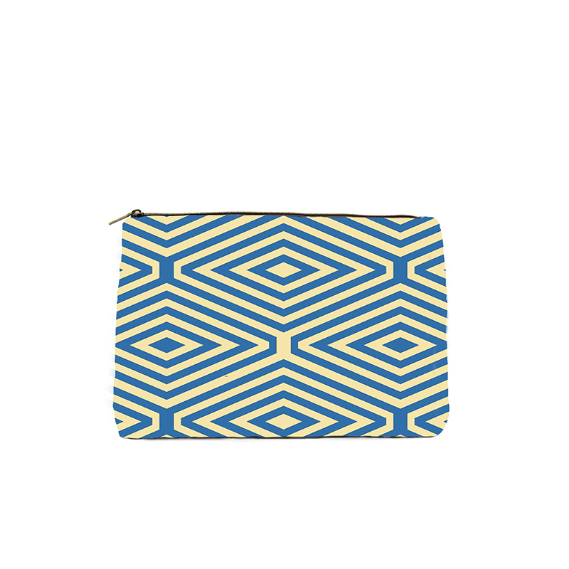 Yellow & Blue Diamond Print Cosmetic Bag