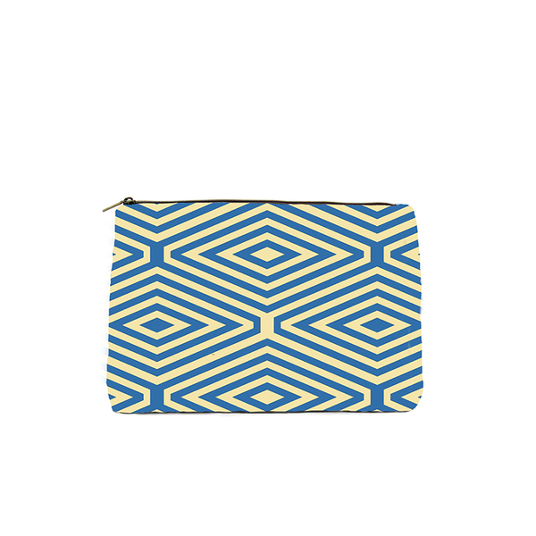 YELLOW AND BLUE DIAMOND PRINT COSMETIC BAG