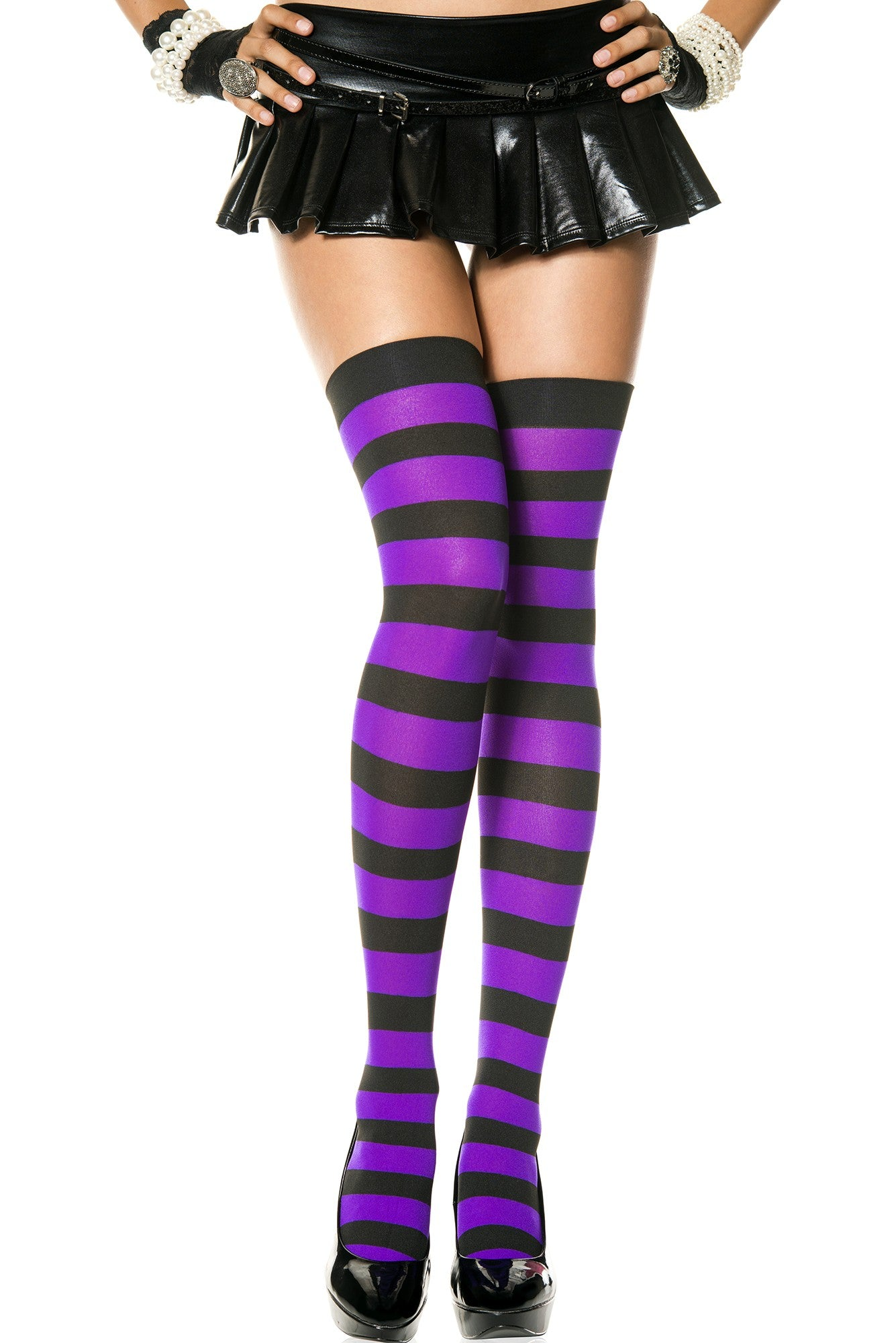 ebf58a644 Black and Purple Wide Striped Thigh High Stockings (Women s) Music Legs
