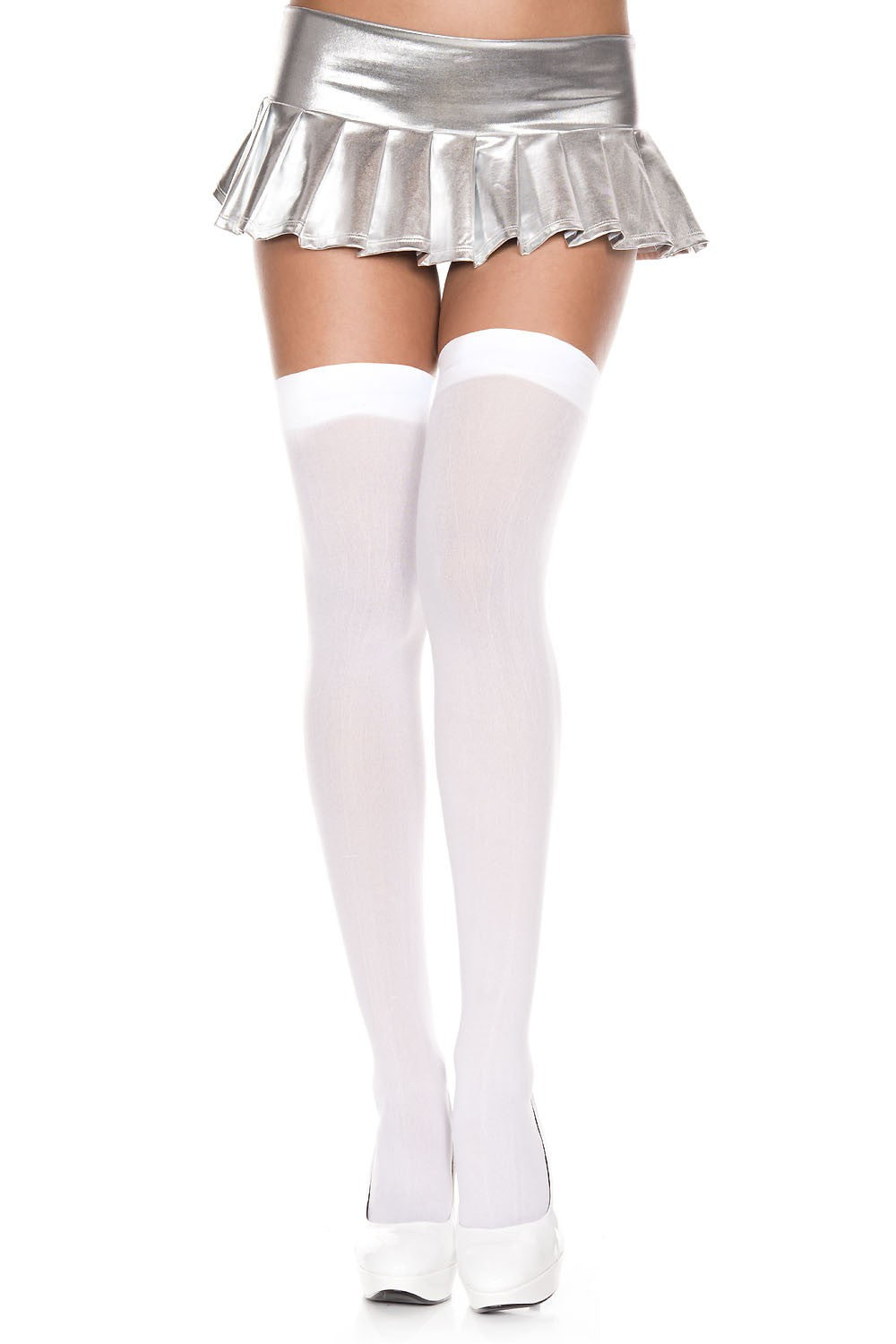 e983f9ba37df18 Women's Solid Opaque Thigh High Stockings, White | Joy Of Socks