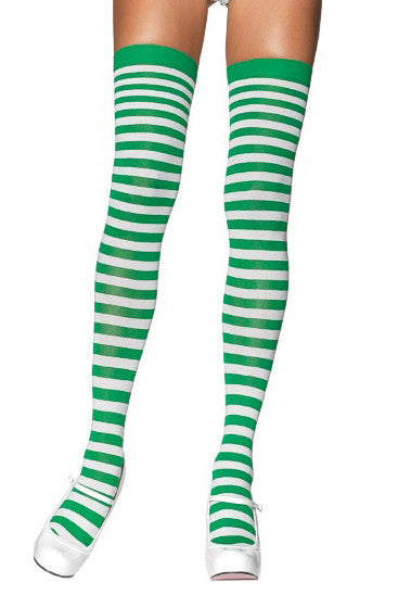 7713fca84c6 Kelly Green and White Striped Thigh High Stockings Leg Avenue