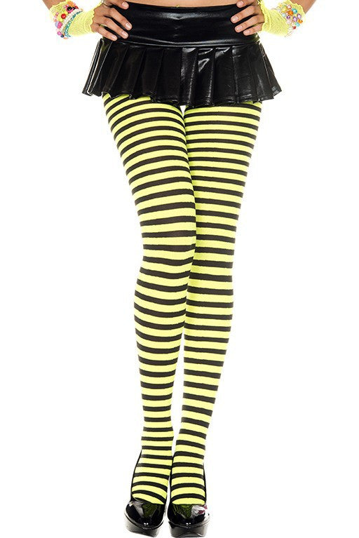 fc0a709dbd9d3d Plus Size Black and Neon Yellow Striped Tights Music Legs