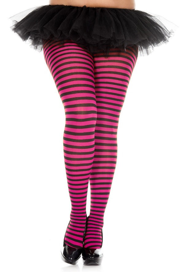 023dec0b7d334 Plus Size Black and Neon Pink Striped Tights Music Legs
