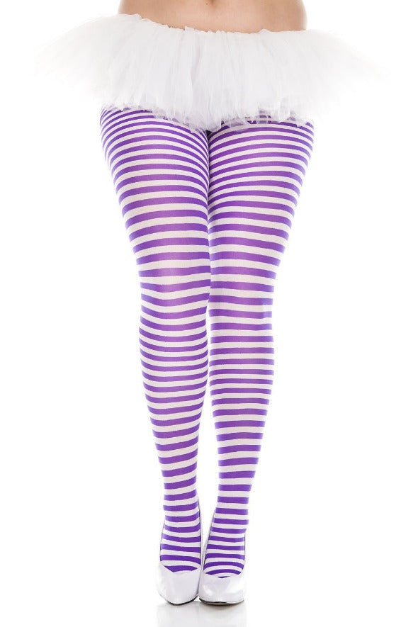 319f046f285 Plus Size White and Purple Striped Tights Music Legs