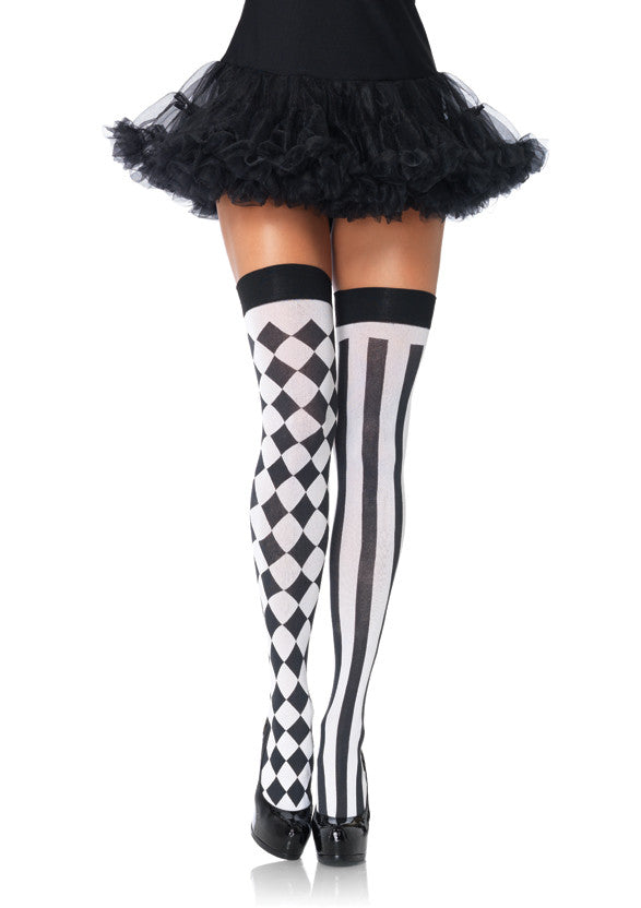 aeae45867 Black and White Harlequin and Vertical Striped Thigh High Stockings Leg  Avenue