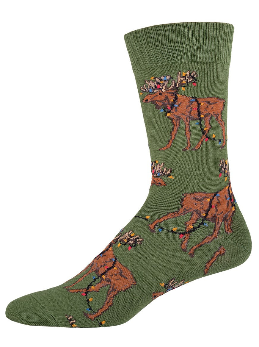 christmas lights moose socks mens socksmith