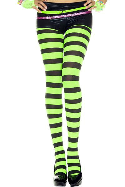 c6dba0cac Black and Neon Green Wide Striped Tights Music Legs