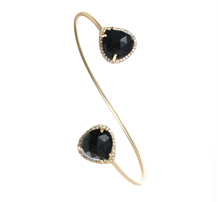 Black Onyx Gemstone & Crystal Bangle
