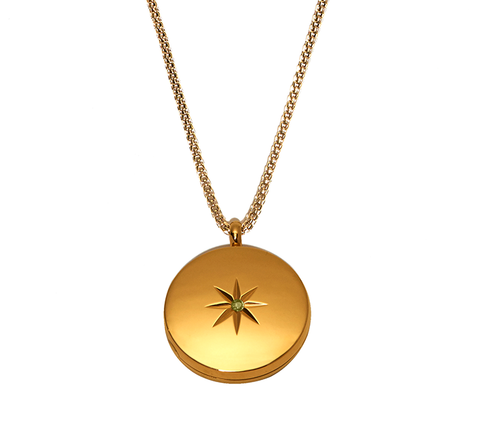 Gold Stellar Locket Necklace