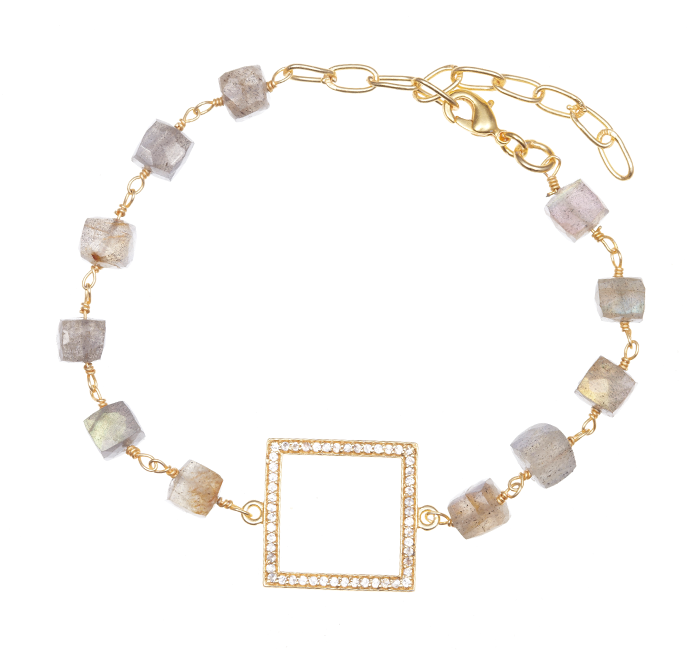 Labradorite with Square Box Stone Charm Bracelet