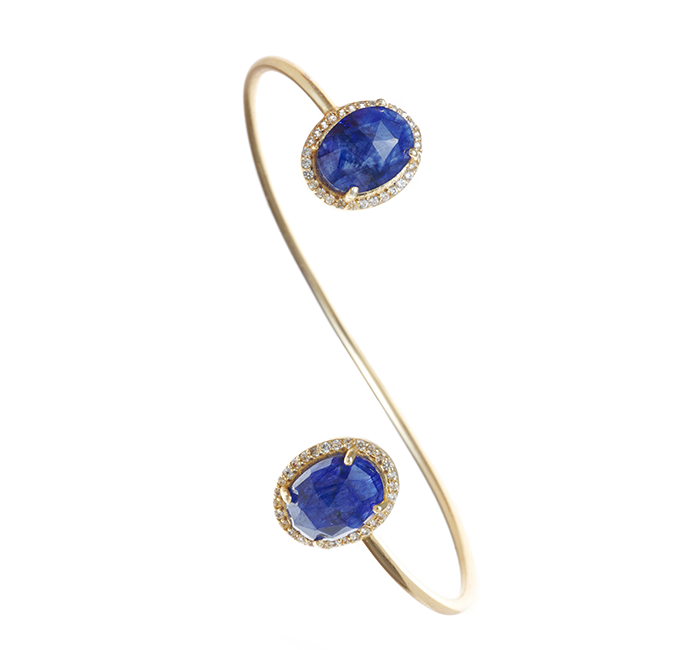 Lapis Gemstone & Crystal Bangle