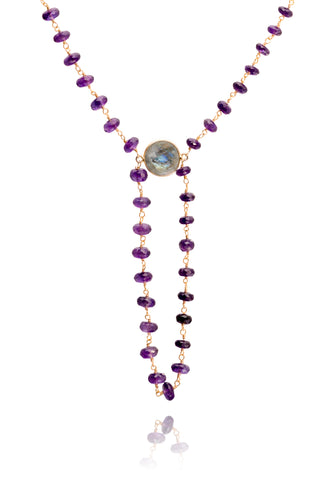 Amethyst with Labradorite Gemstone Alchemy Necklace
