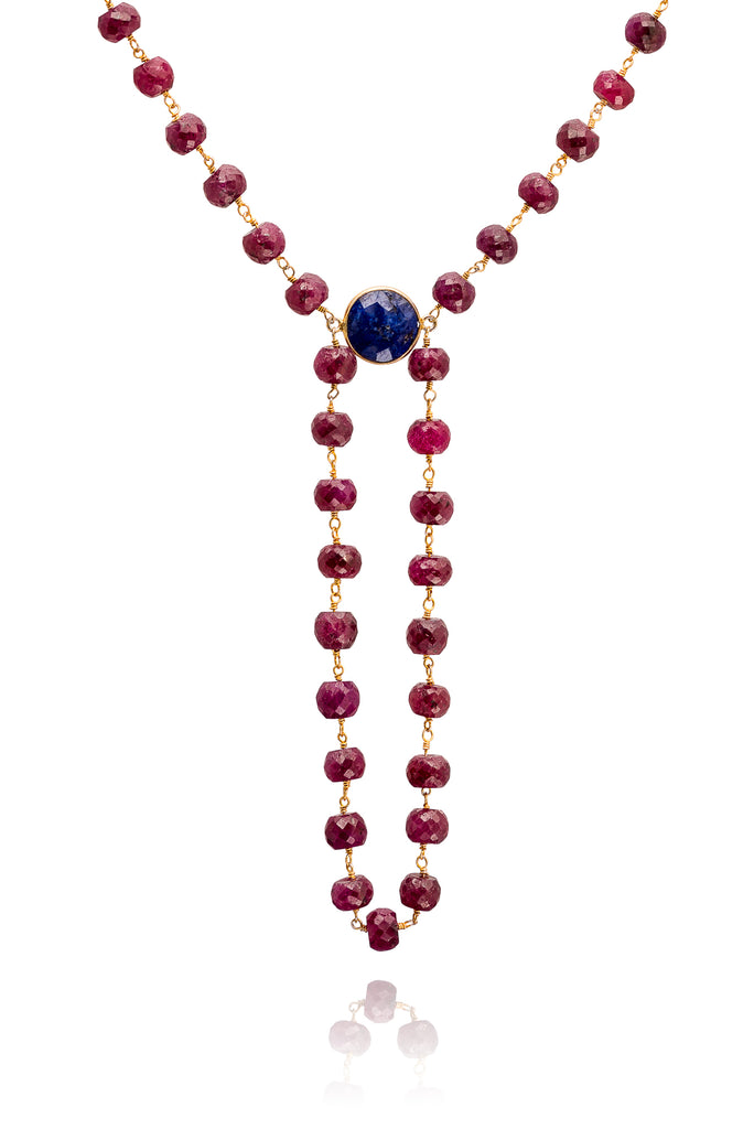 Precious Raw Ruby with Raw Sapphire Gemstone Alchemy Necklace