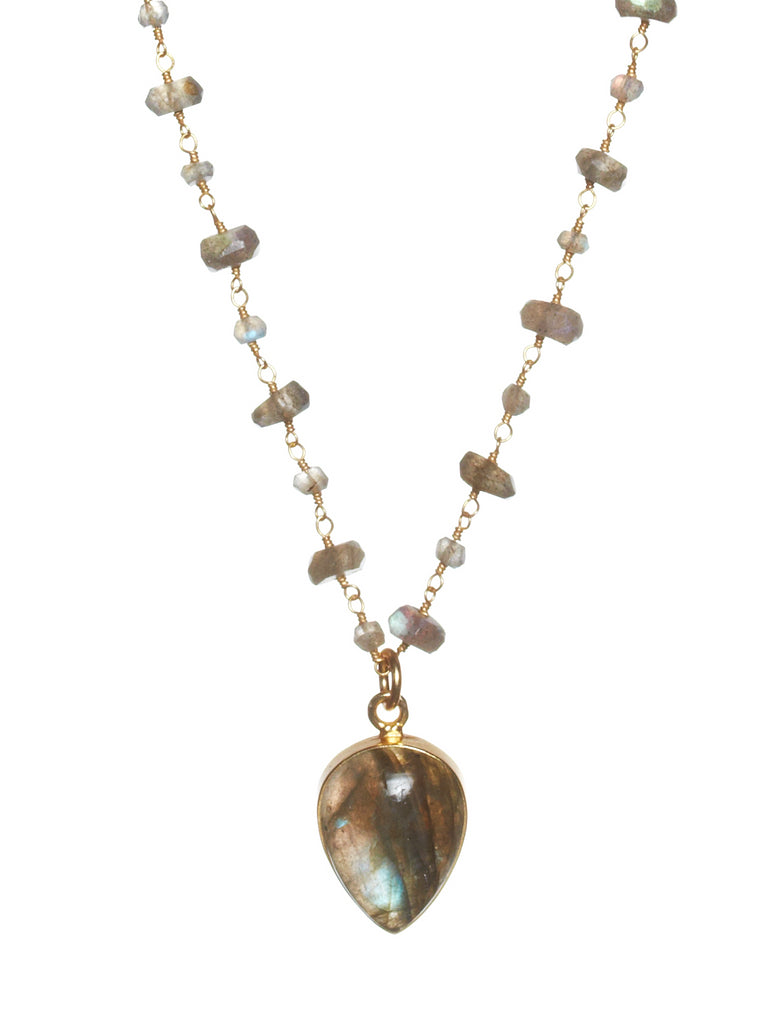 Labradorite Ace of Spade Gemstone Necklace
