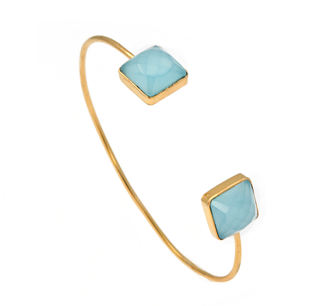 Aqua Chalcedony Square Gemstone Bangle
