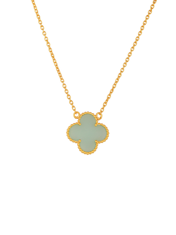 Peru Chalcedony Clover Pendant Necklace