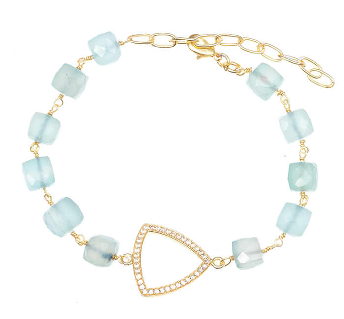 Peru Chalcedony with Triangle Box Stone Charm Bracelet