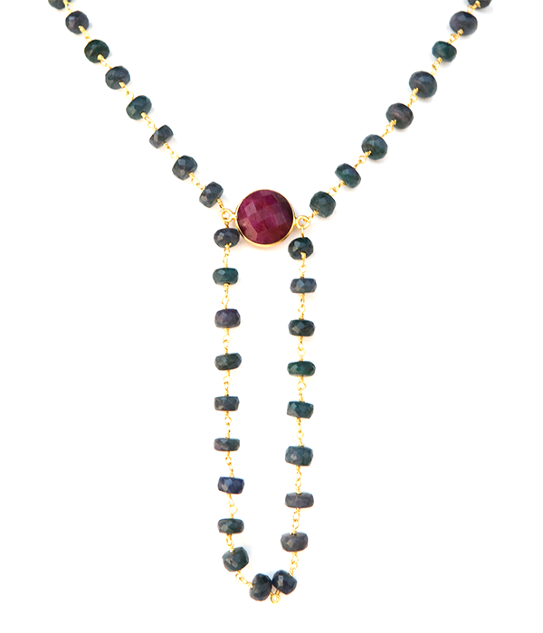 Precious Raw Emerald with Raw Ruby Gemstone Alchemy Necklace