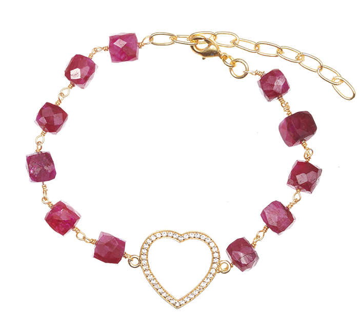 Precious Ruby with Heart Box Stone Charm Bracelet