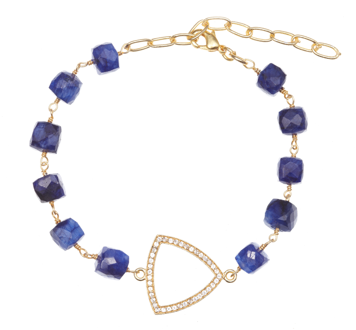 Precious Sapphire with Triangle Box Stone Charm Bracelet