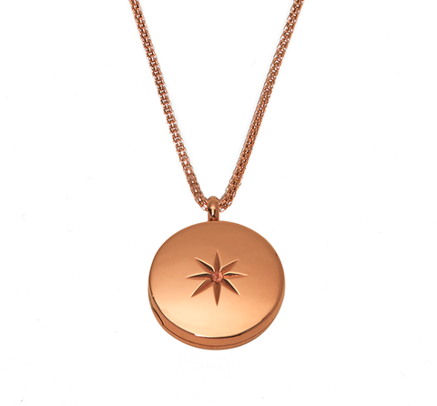 Rose Gold Stellar Locket Necklace