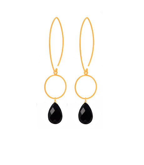Hematite Brushed Gold Gemstone Earrings