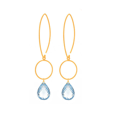 Blue Topaz Brushed Gold Gemstone Earrings