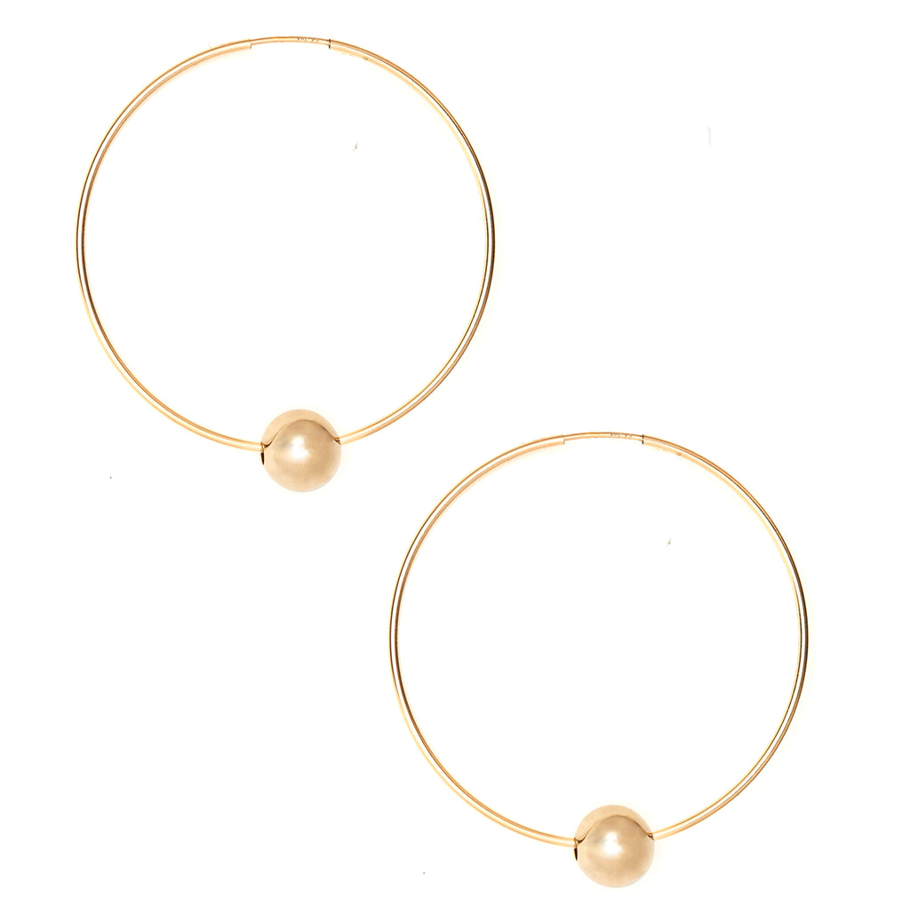 Christy Gold Beaded Hoop Earrings with Shiny Gold Bead