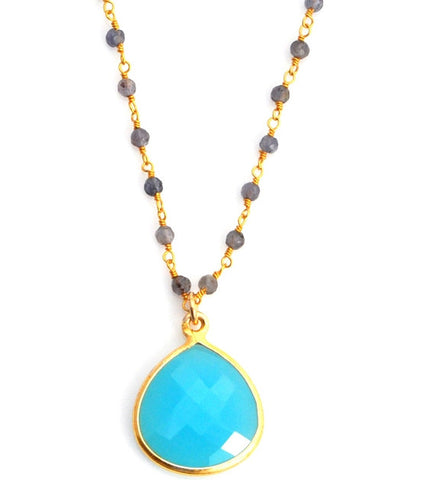 Sacred Jewels Aqua Chalcedony & Labradorite Inspiration Necklace