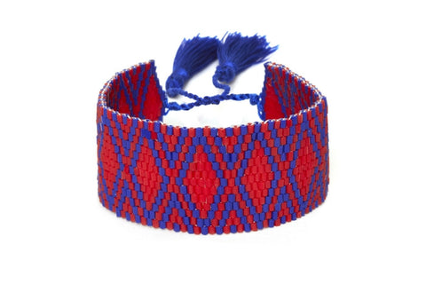 Red and Navy Mixed Beaded Cuff Bracelet