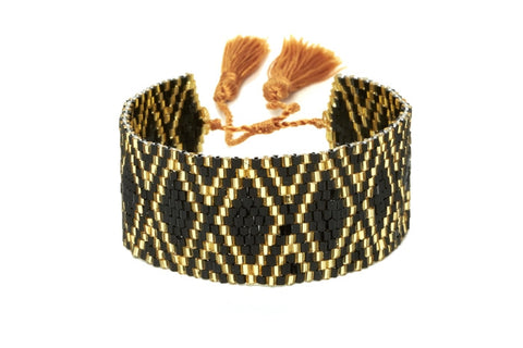 Black and Gold Mixed Beaded Cuff Bracelet