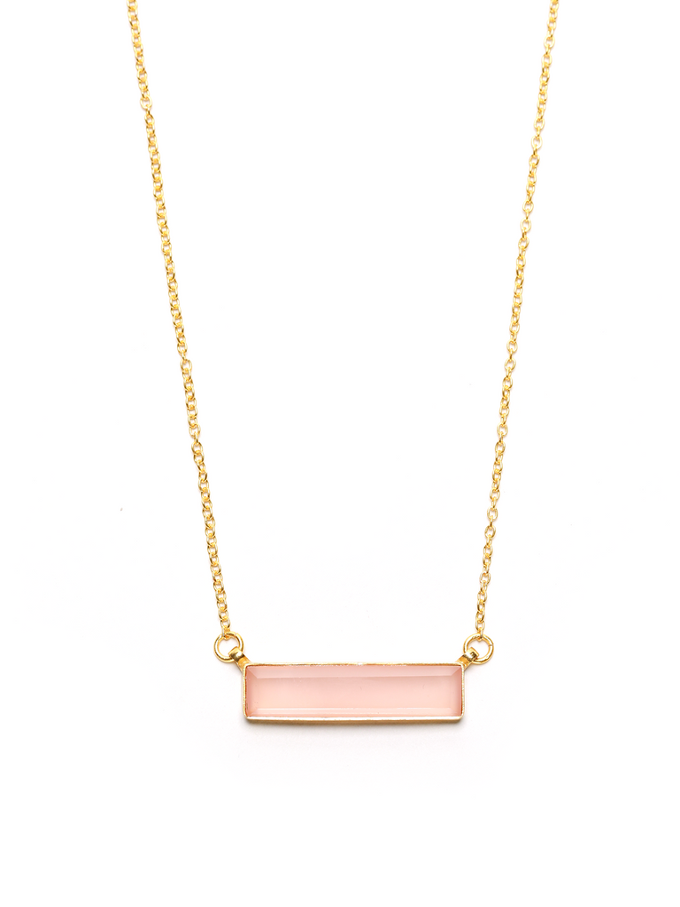 Pink Chalcedony Gemstone Bar Necklace