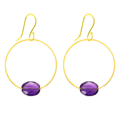 Amethyst Gemstone Hoop Earrings
