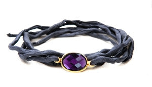 Sacred Jewels Amethyst Charcoal Gray Silk Tie Intention Bracelet