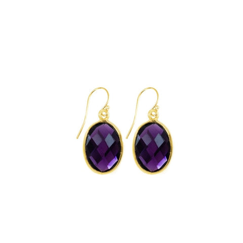 Amethyst Oval Gemstone Earrings