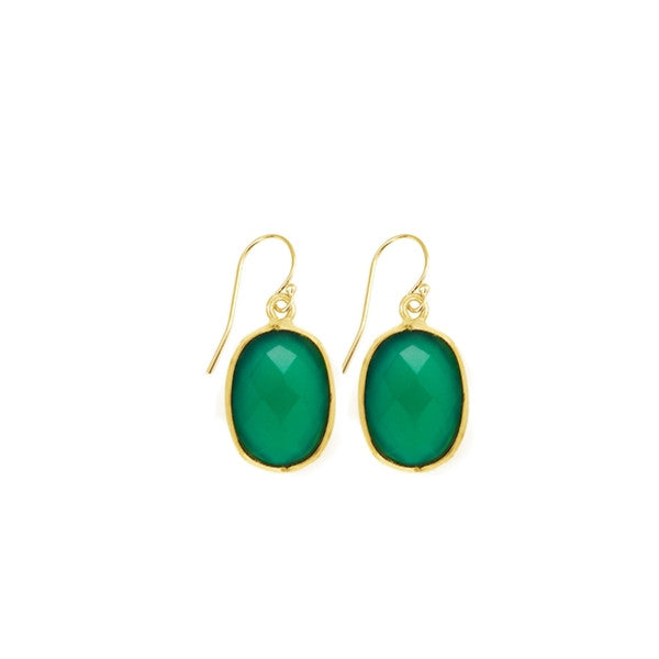 Green Onyx Oval Gemstone Earrings
