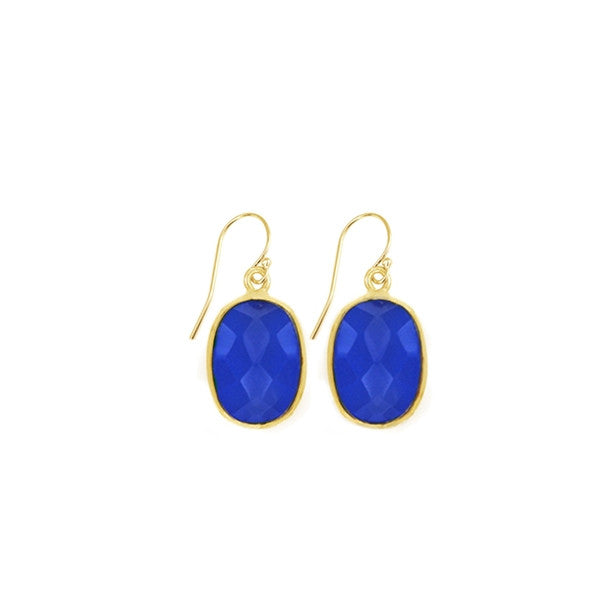 Indigo Chalcedony Oval Gemstone Earrings