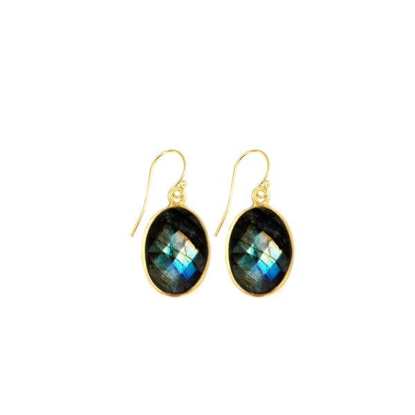 Labradorite Oval Gemstone Earrings
