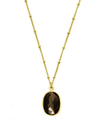 Smoky Quartz Oval Gemstone Necklace