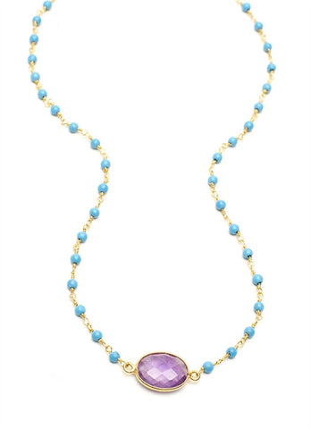 Amethyst Oval Stone on Turquoise Chain (18۝)