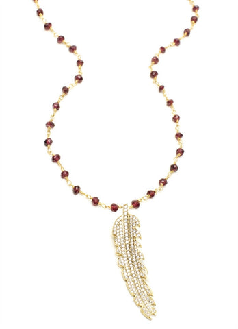 Feather Crystal Pave Charm on Garnet Chain (18۝)