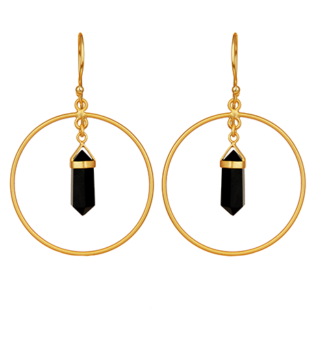 Black Onyx Gemstone Pendant Hoop Earrings