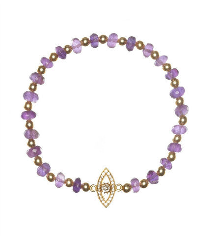 Amethyst with Eye Sacred Charm Bracelet